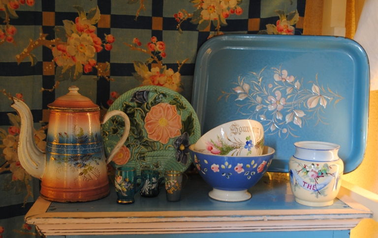 Antique french bowls and coffee pot