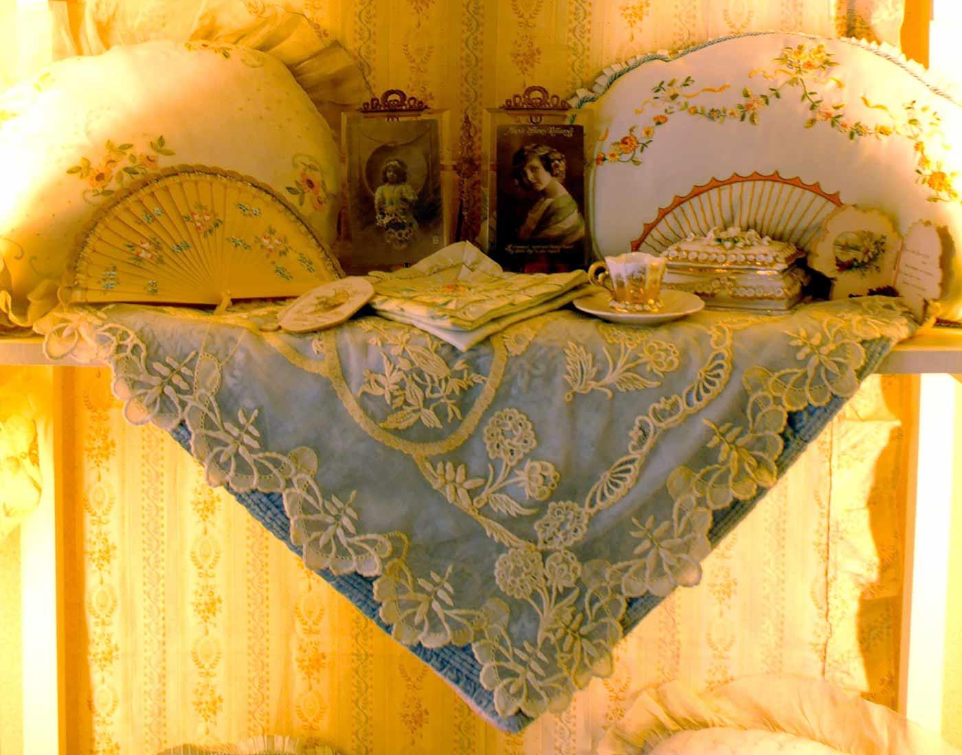 Antique pillows fan shape