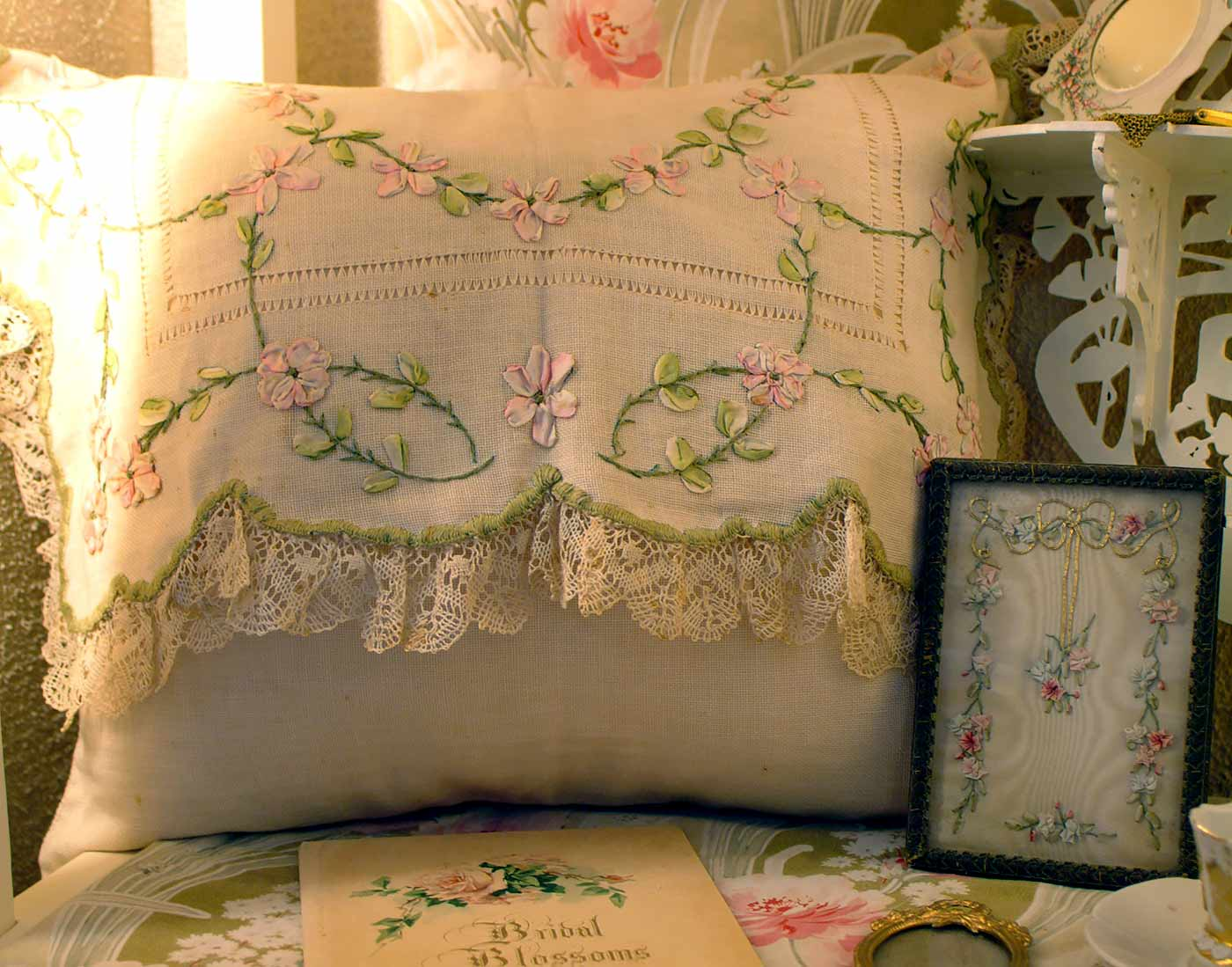 Antique ribbonwork pillow
