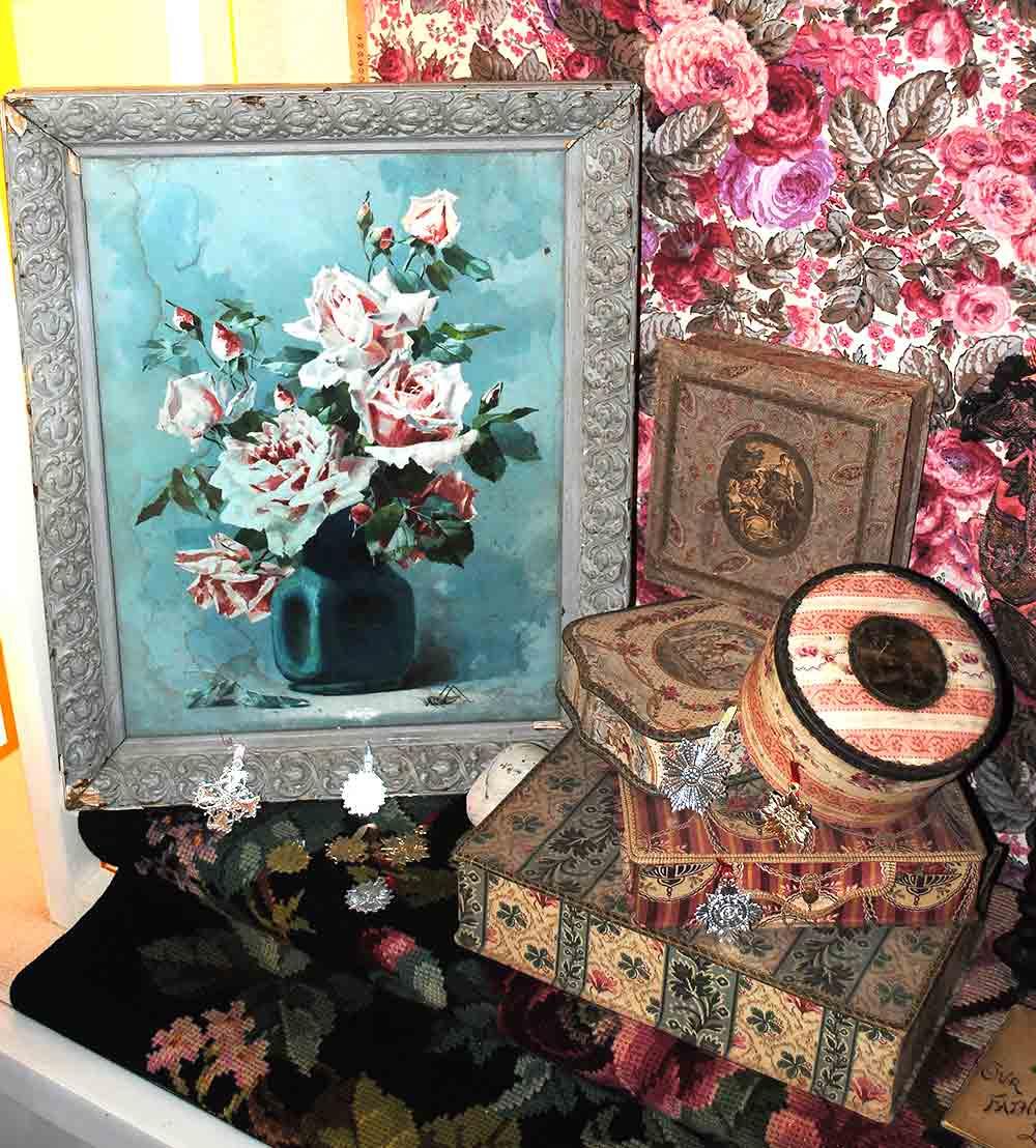 Antique fabric boxes