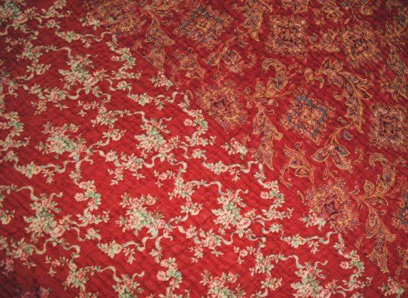 Durham quilt green red fabrics