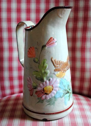 Enameled jug cream bird daisies