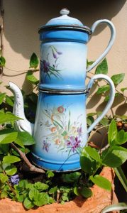 Enameled coffee pot daffodils