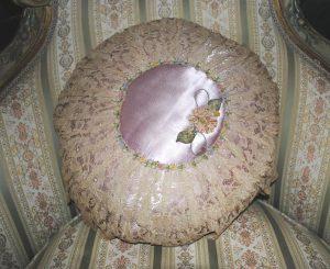 Ribbonwork lilac pillow