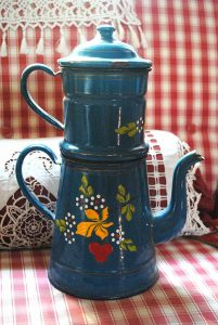Blue coffee pot cherries hand painted