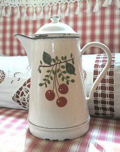Enameled white coffee pot cerises