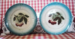 Plates with cherries