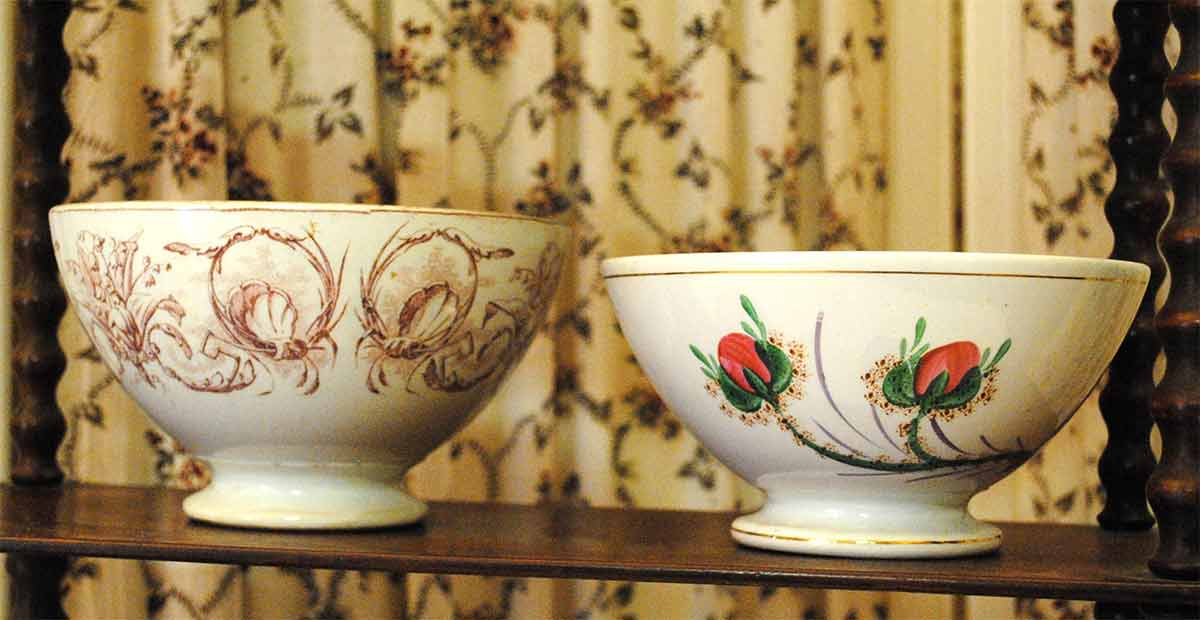 Antique French bowls pink