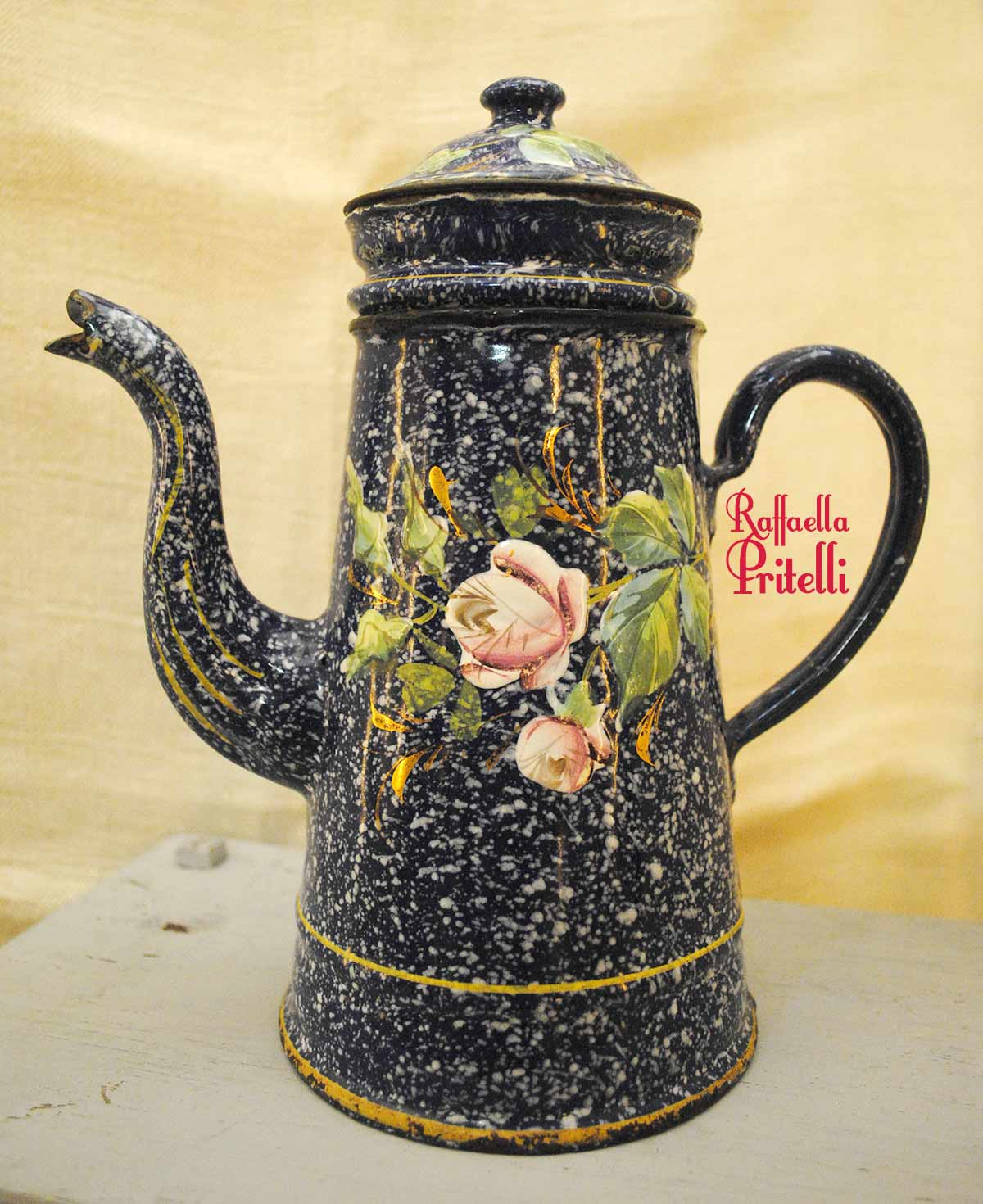 enameled-coffee-pot-blue-spotted-and-rose
