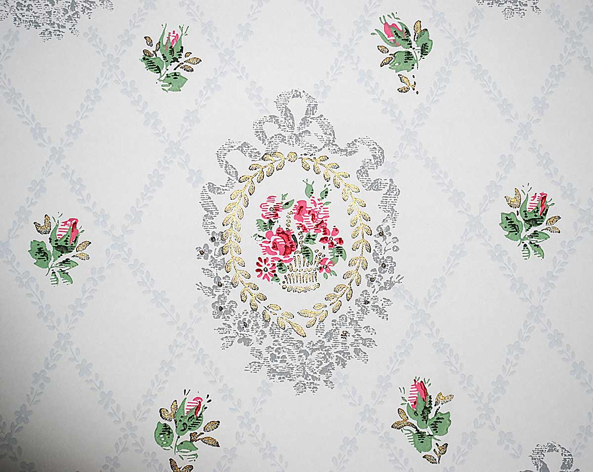 Vintage wallpaper cameos close up