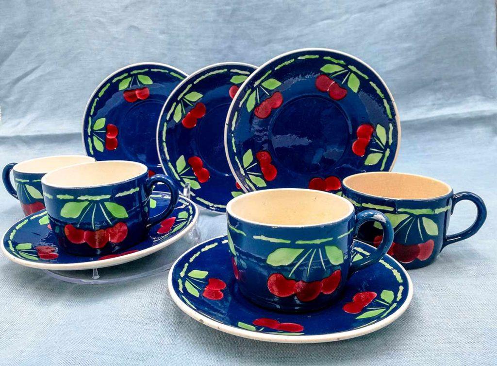 Set 4 tazze da caffè ceramica blu decoro ciliegie manifattura Sarreguemines